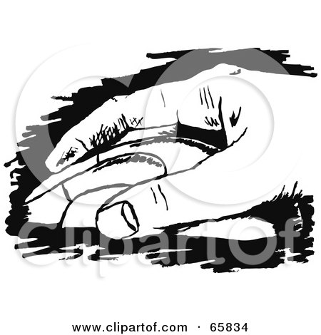 Royalty-Free (RF) Clipart Illustration of a Black And White Hand Resting On A Computer Mouse by Prawny