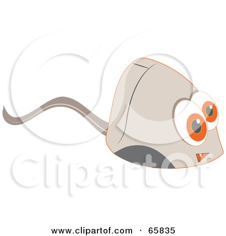 Royalty-Free (RF) Clipart Illustration of a Computer Mouse With Big Orange Eyes by Prawny