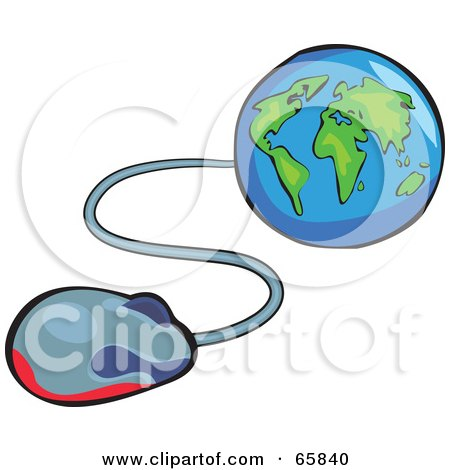 Royalty-Free (RF) Clipart Illustration of a Computer Mouse Extending From A Blue And Green Globe by Prawny