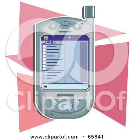Royalty-Free (RF) Clipart Illustration of a Modern Pda Device Over Pink Triangles by Prawny