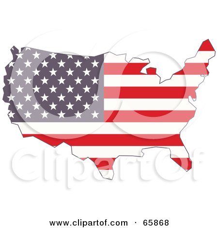 Royalty-Free (RF) Clipart Illustration of an American Flag Map by Prawny