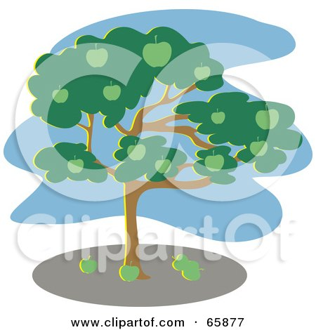 Royalty-Free (RF) Clipart Illustration of a Green Apple Tree With A Blue Sky by Prawny