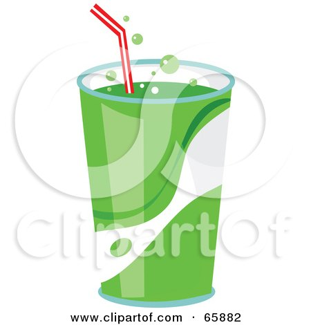 Royalty-Free (RF) Clipart Illustration of Fountain Soda In A Green Cup With A Straw by Prawny