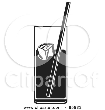 Royalty-Free (RF) Clipart Illustration of a Black And White Tall Glass Of Soda And Ice by Prawny