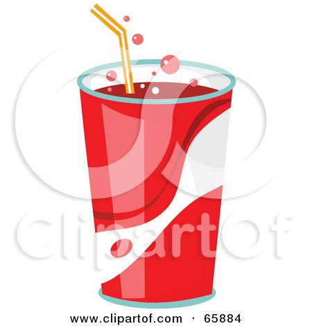 Royalty-Free (RF) Clipart Illustration of Fountain Soda In A Red Cup With A Straw by Prawny