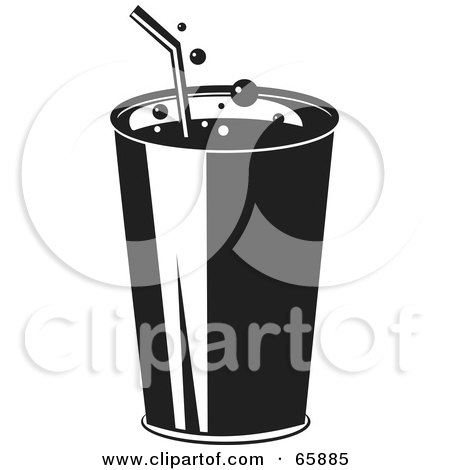 Royalty-Free (RF) Clipart Illustration of a Fizzy Black And White Fountain Soda by Prawny
