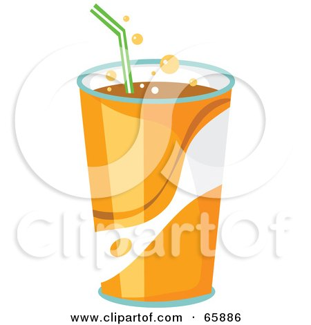 Royalty-Free (RF) Clipart Illustration of Fountain Soda In An Orange Cup With A Straw by Prawny