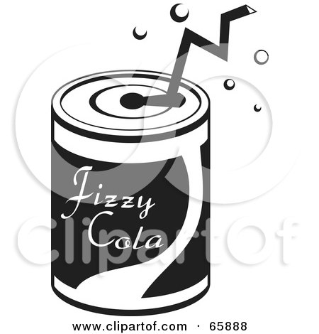 Royalty-Free (RF) Clipart Illustration of a Black And White Straw In A Soda Can by Prawny