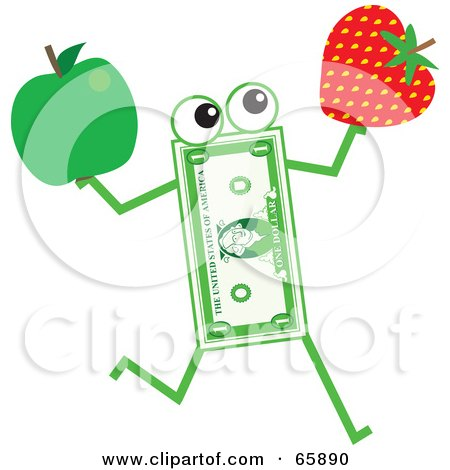 Royalty-Free (RF) Clipart Illustration of a Banknote Character Carrying A Strawberry And Apple by Prawny