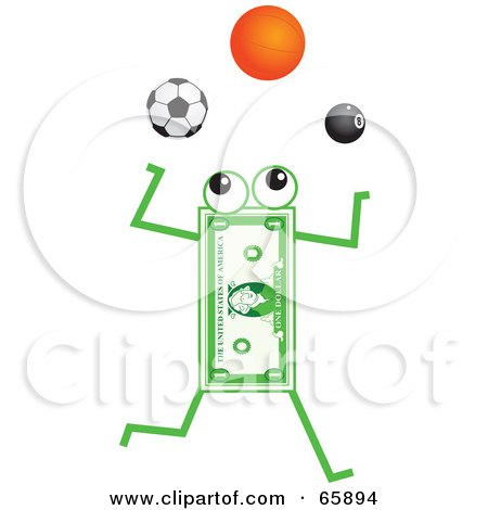 Royalty-Free (RF) Clipart Illustration of a Banknote Character Juggling Soccer, Basketball And Pool Balls by Prawny