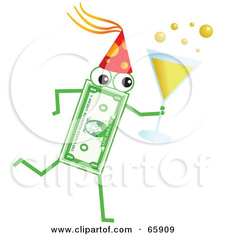 Royalty-Free (RF) Clipart Illustration of a Banknote Character Carrying Champagne At A Party by Prawny