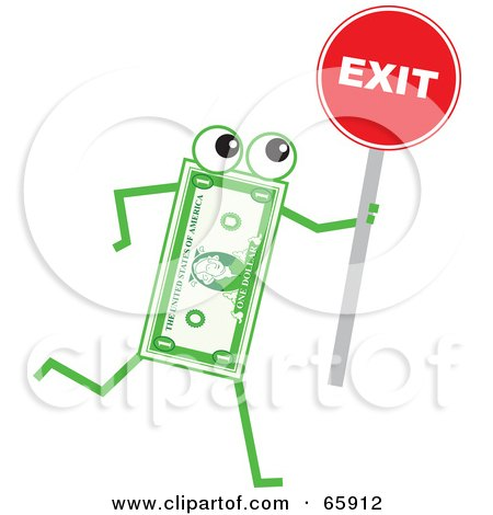 Royalty-Free (RF) Clipart Illustration of a Banknote Character Holding A Red Exit Sign by Prawny