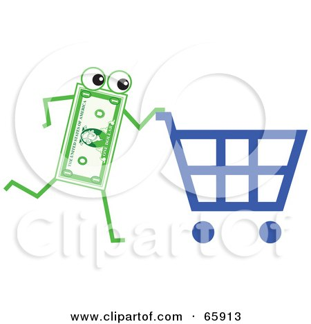 Royalty-Free (RF) Clipart Illustration of a Banknote Character Pushing A Shopping Cart by Prawny