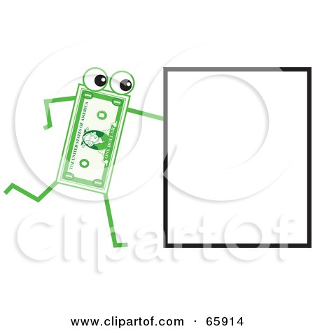 Royalty-Free (RF) Clipart Illustration of a Banknote Character Pushing A Sign by Prawny