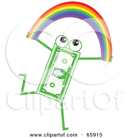 Royalty-Free (RF) Clipart Illustration of a Banknote Character Carrying A Rainbow by Prawny