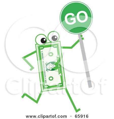 Royalty-Free (RF) Clipart Illustration of a Banknote Character Holding A Go Sign by Prawny
