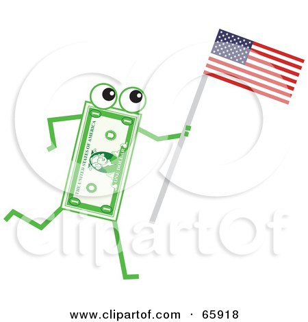 Royalty-Free (RF) Clipart Illustration of a Banknote Character Carrying An American Flag by Prawny