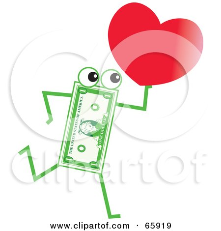 Royalty-Free (RF) Clipart Illustration of a Banknote Character Carrying A Heart by Prawny