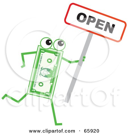 Royalty-Free (RF) Clipart Illustration of a Banknote Character Holding An Open Sign by Prawny
