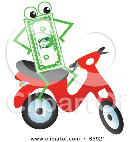 Royalty-Free (RF) Clipart Illustration of a Banknote Character Riding A Scooter by Prawny