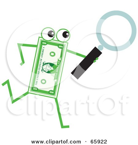 Royalty-Free (RF) Clipart Illustration of a Banknote Character Carrying A Magnifying Glass by Prawny