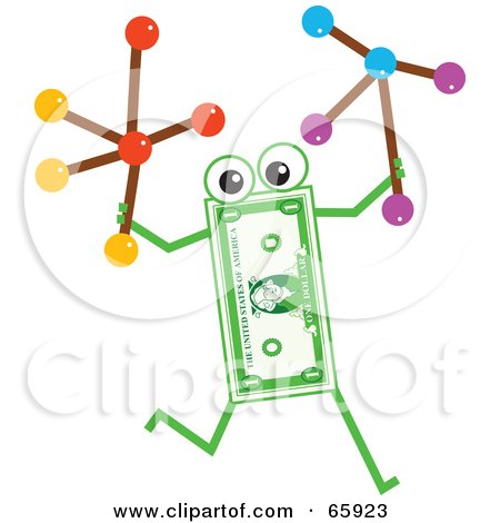 Royalty-Free (RF) Clipart Illustration of a Banknote Character Carrying Molecules by Prawny