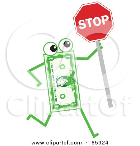 Royalty-Free (RF) Clipart Illustration of a Banknote Character Holding A Stop Sign by Prawny