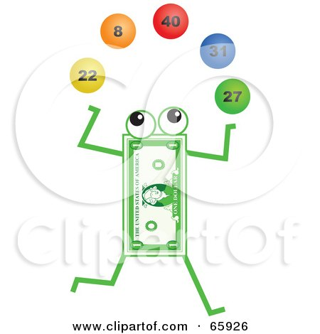 Royalty-Free (RF) Clipart Illustration of a Banknote Character Juggling Lottery Balls by Prawny