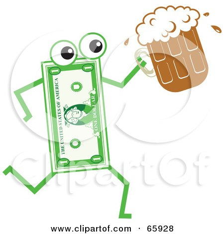 Royalty-Free (RF) Clipart Illustration of a Banknote Character Carrying A Beer by Prawny