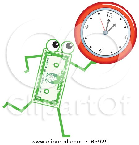 Royalty-Free (RF) Clipart Illustration of a Banknote Character Carrying A Wall Clock by Prawny