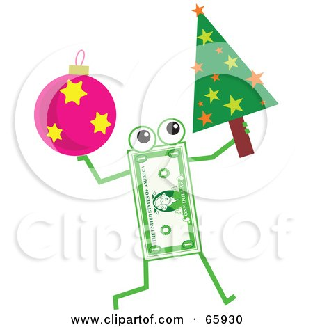 Royalty-Free (RF) Clipart Illustration of a Banknote Character Carrying A Christmas Tree And Bauble by Prawny