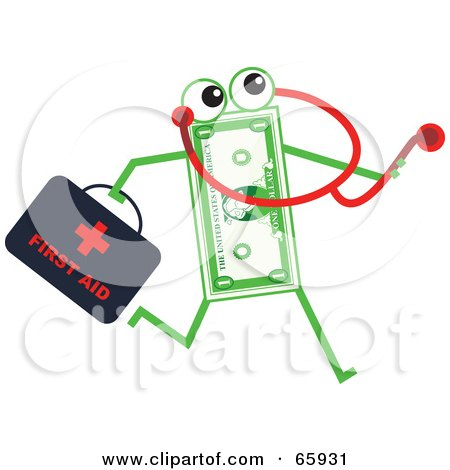 Royalty-Free (RF) Clipart Illustration of a Banknote Character Doctor by Prawny