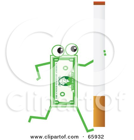 Royalty-Free (RF) Clipart Illustration of a Banknote Character Carrying A Cigarette by Prawny
