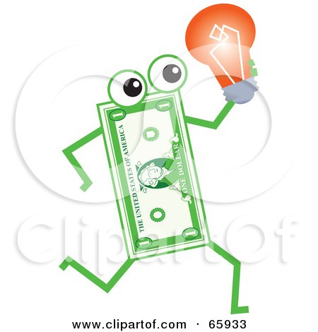 Royalty-Free (RF) Clipart Illustration of a Banknote Character Carrying A Light Bulb by Prawny