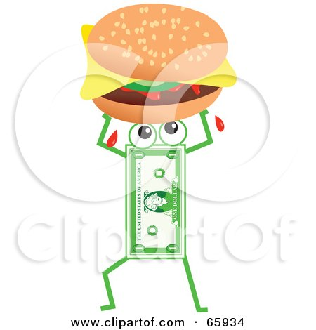 Royalty-Free (RF) Clipart Illustration of a Banknote Character Carrying A Cheeseburger by Prawny