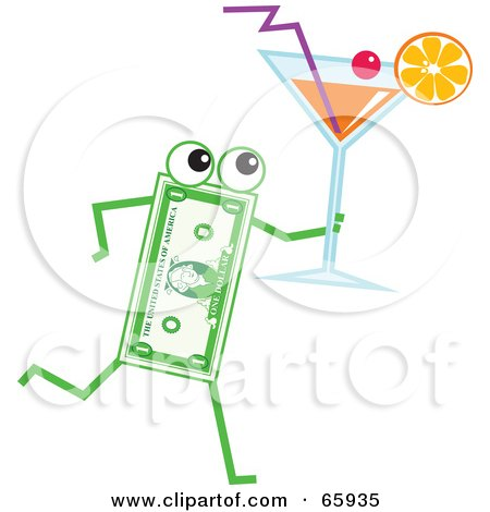Royalty-Free (RF) Clipart Illustration of a Banknote Character Carrying A Cocktail by Prawny