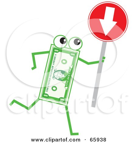 Royalty-Free (RF) Clipart Illustration of a Banknote Character Holding A Red Arrow Sign by Prawny