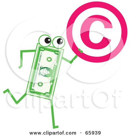 Royalty-Free (RF) Clipart Illustration of a Banknote Character Carrying A Copyright Symbol by Prawny