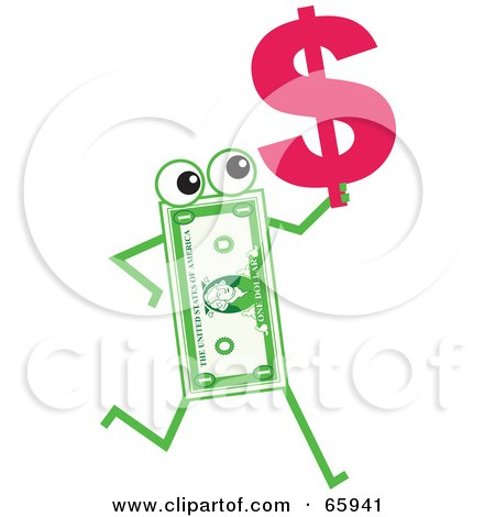 Royalty-Free (RF) Clipart Illustration of a Banknote Character Carrying A Dollar Symbol by Prawny