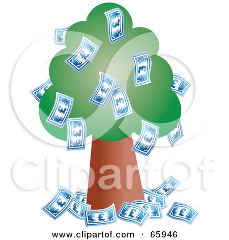Royalty-Free (RF) Clipart Illustration of a Lush Green Tree Growing Pound Bank Notes by Prawny