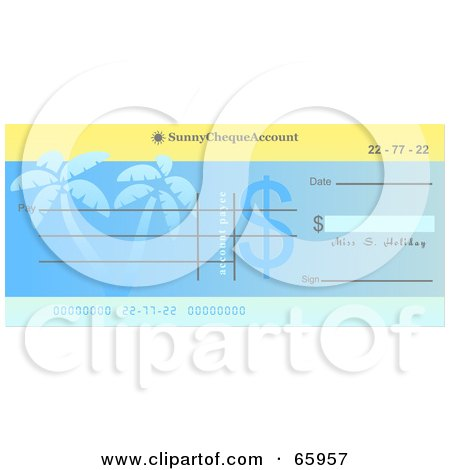 Royalty-Free (RF) Clipart Illustration of a Blue Palm Tree Cheque With Dollar Symbols by Prawny