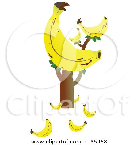 Royalty-Free (RF) Clipart Illustration of a Tree With A Giant Banana And Fruits On The Ground by Prawny
