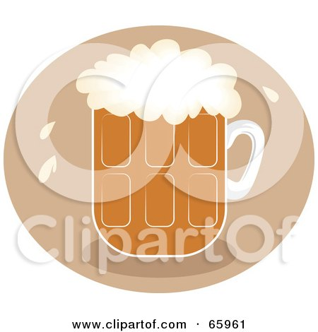 Royalty-Free (RF) Clipart Illustration of a Pint Of Frothy Beer Over A Brown Circle by Prawny