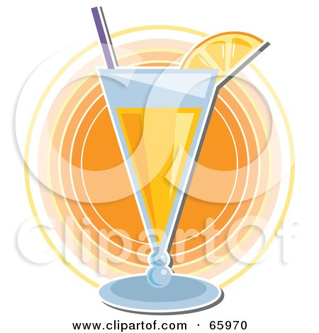 Royalty-Free (RF) Clipart Illustration of a Cocktail Beverage Garnished With Fruit, Over Orange Circles by Prawny