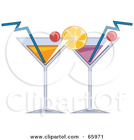 Royalty-Free (RF) Clipart Illustration of Two Cocktail Beverages Garnished With Fruit by Prawny
