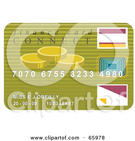 Royalty-Free (RF) Clipart Illustration of a Green Finance Credit Card Card by Prawny
