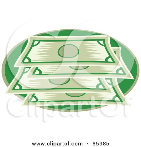Royalty-Free (RF) Clipart Illustration of a Stacked Green Bank Notes by Prawny