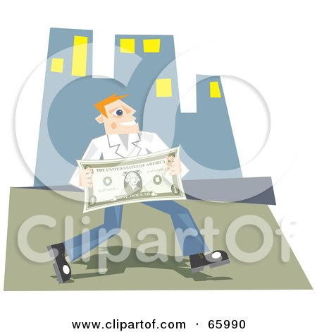 Royalty-Free (RF) Clipart Illustration of a Successful Man Carrying A Large Dollar Bill In A City by Prawny
