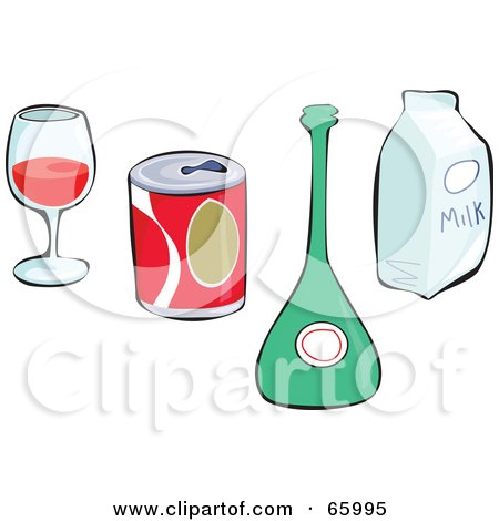Royalty-Free (RF) Clipart Illustration of a Digital Collage Of Non Alcoholic And Alcoholic Beverages by Prawny