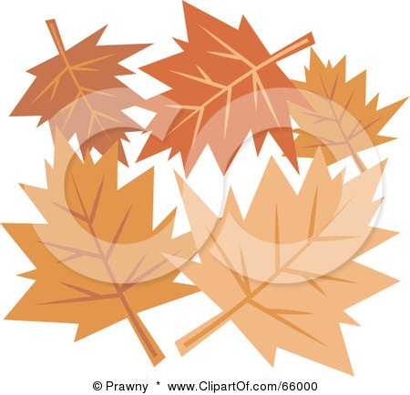 Royalty-Free (RF) Clipart Illustration of a Group Of Orange Autumn Leaves by Prawny